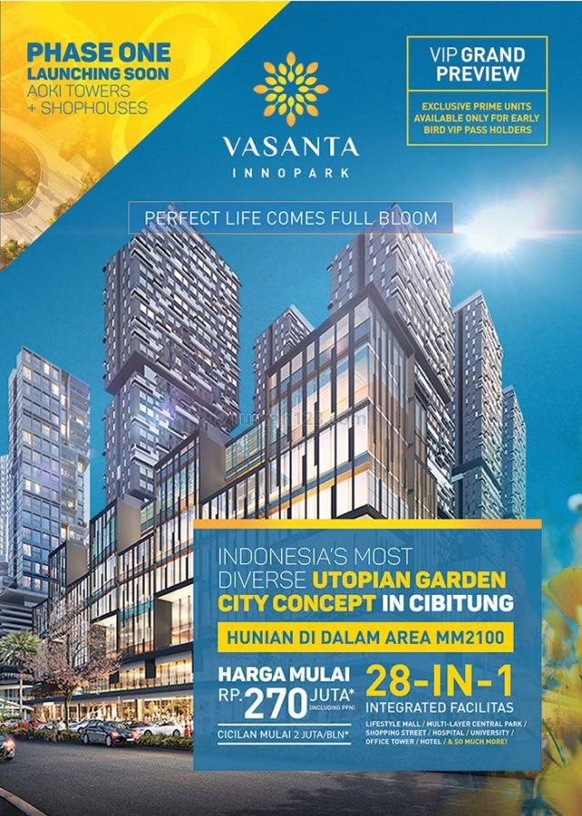 APARTEMEN VASANTA  MM2100 Cibitung Bekasi start 270jt Harga perdana !!!
