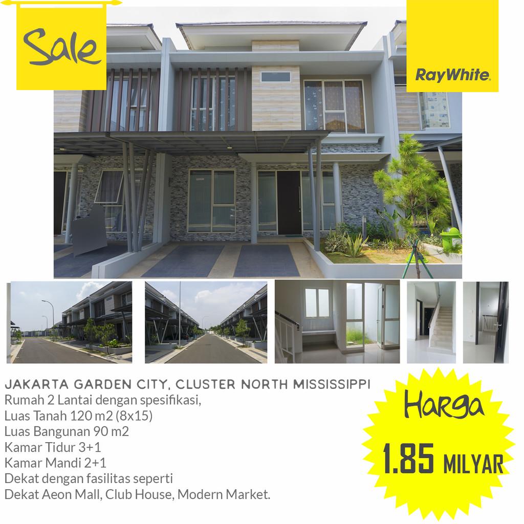 Rumah Murah, JGC Lebar 8, Cluster Mississippi Ready Januari 2018 , Jakarta Garden City, Cakung Timur